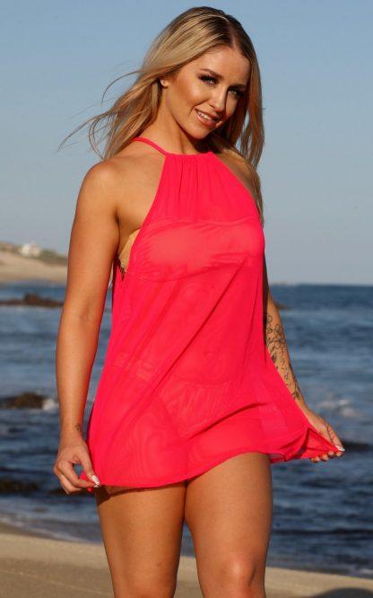 SKU# Q412 - mesh poolside cover up dress
